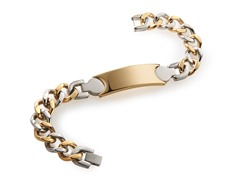 BlackJack 14K Gold and Stainless Steel ID Bracelet