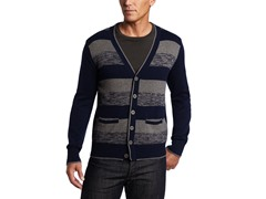 Alex Stevens Men's Striped Cardigan, Admiral Blue