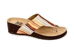 Cara Thong Wedge Sandal, Orange Stripe