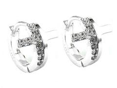 Sterling Silver Fancy Simulated Diamond Cross Huggies
