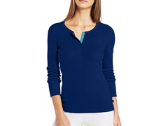 Nautica Sleepwear Women's Pointelle Henley, Blue