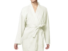 Organic Cotton Jersey Knit Robe - Ecru