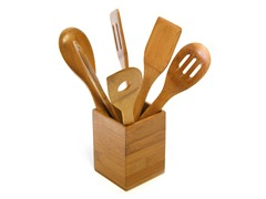 TruBamboo Square Caddy with 6 Utensils