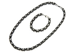 2-Tone Black Byzantine Bracelet & Necklace