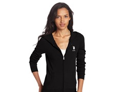 Long Sleeve Zip Front Hoodie, Black