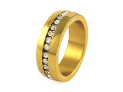 18kt Gold Plated SS Simulated Diamond Band