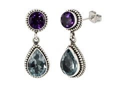 SS Balinese Round Amethyst & Pear Shape Blue Topaz Gemstone Dangle Earrings