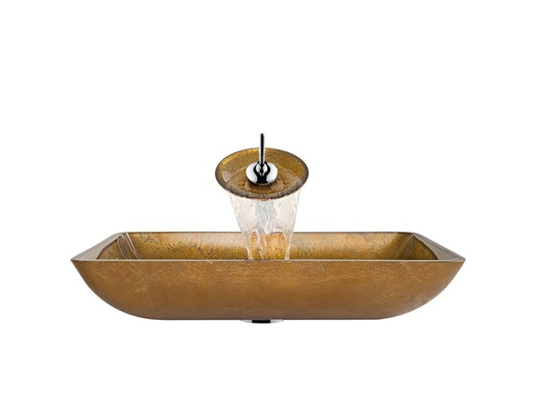 Vigo Rectangular Copper Glass Vessel Sink And Waterfall Faucet Set In Chrome