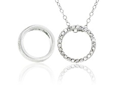 SS Reversible CZ Open Circle Pendant w/ Chain