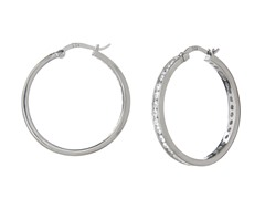 Sterling Silver 30mm CZ Hoops