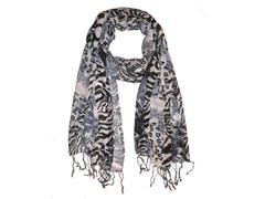 Kitara  Zebra Print Scarf Grey & Black