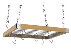 Natural Wood Square Ceiling Kitchen Rack