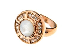 14k Rose Gold Plate Mother of Pearl Ring