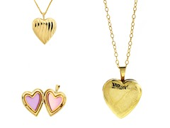 10kt Gold Reversible Hearts Locket