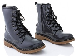 Rasolli Combat Boots, Dark Gray Patent