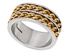2-Tone Stainless Steel Cuban Link Ring