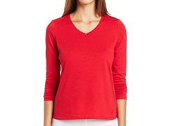 Nautica Sleepwear Women's Anchor Long Sleeve Tee, Red