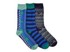MUK LUKS ® Men's 3 Pair-Pack Crew Socks, Blue/Green