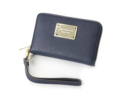 iPhone Saffiano Leather Zip Wallet, Navy