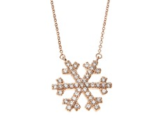 18kt Rose Gold Plated Snowflake Necklace