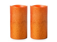 ENJOY Orange Glitter 3x6 3 LED Pillar w/Timer - 2 PK