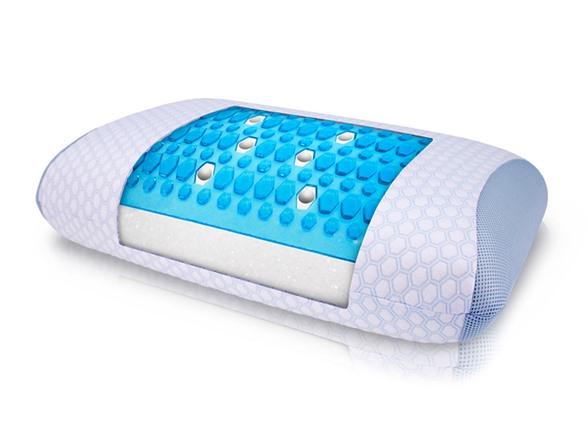 Blue Gel Overlay Pillow White Standard