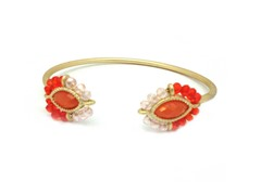 Gold-Plated & Glass Bead Open Bangle - Coral