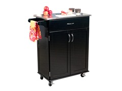 Kitchen Cart w/Stainless Top - Black