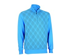 French Terry Print Pullover - Azure/Ash