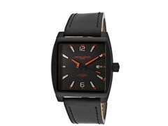 Orange / Black Dial Black Leather Watch