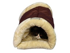 Burrow Pet Cat Bed - Indian Red & Beige
