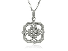 Riccova Retro CZ Rhodium Open Flower Pendant On Chain Necklace