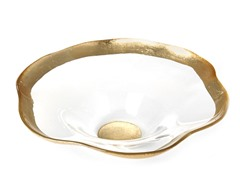 "Wave Bowl 8"" Gold Rim"