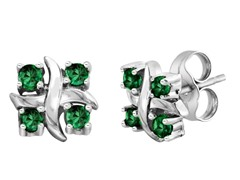 SS Created Emerald X Earrings