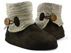 MUK LUKS ® Short Speckled Ribbed Slipper Boot, Natural