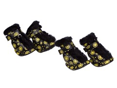 Black & Yellow Fur Protective Boots