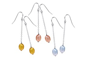 Double Dangling Pearl Earrings Set Of 3 Colors