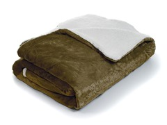 Fleece Blanket w/ Sherpa Backing- Brown
