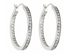18kt White Gold Plated 35mm CZ Hoops