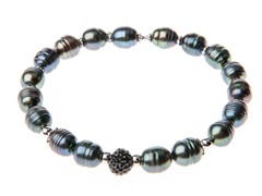 SS Pearl & Crystal Bangle Bracelet