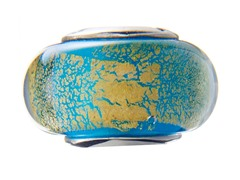 Yellow & Blue Marble Glass Bead