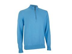 Pima Half Zip Sweater - Azure/Ash