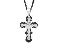 Two-tone Cross CZ Pendant w/ Chain