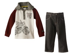 Motorcycle Hooded Top & Jeans (2T-4T)