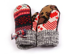 Girls Red Plaid Bow Mittens