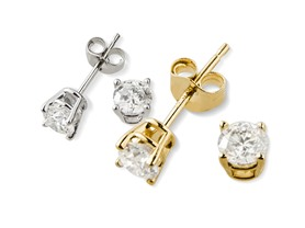 Genuine IGI Certified 14K Gold White Diamond Studs