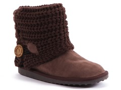 MUK LUKS ® Patti Cable Cuff Bootie, Brown