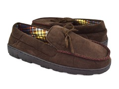 Men's MUK LUKS ® Polysuede Moccasin with Flannel Lining
