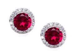 SS Red CZ Halo Stud Earrings