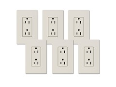 15-Amp Receptacle 6-Pack, Light Almond